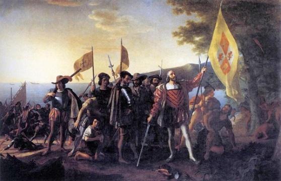 Colombo Sbarco a Guanahani, 1492', olio di John Vanderlyn (1775-1852, United States)